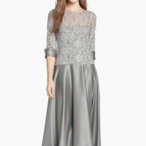 JS Collections 14 16 P Gray Silver Formal dress